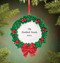 Personalized Christmas Wreath Ornament   No Personalization