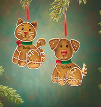 New -  				Personalized Pet Gingerbread Ornament