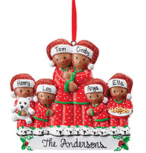 New - Personalized Darker Skintone Family in Pajamas Ornament
