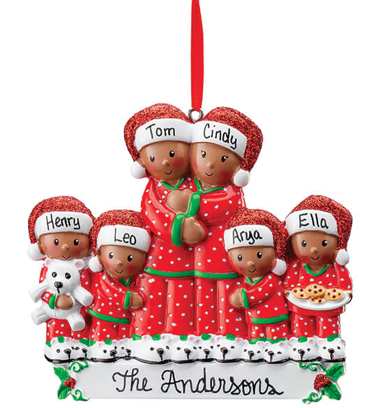 Personalized Darker Skintone Family in Pajamas Ornament - View 1