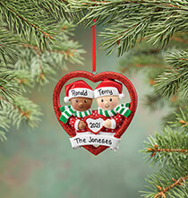 New - Personalized Biracial Couple Ornament