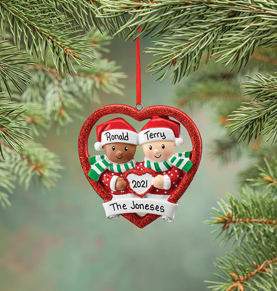 Personalized Biracial Couple Ornament